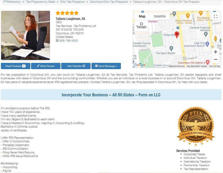 Tatiana Loughman IRS tax returns